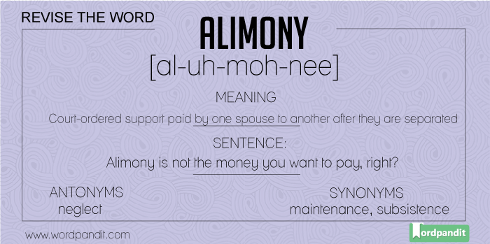 Synonyms-Antonyms-Meaning for alimony