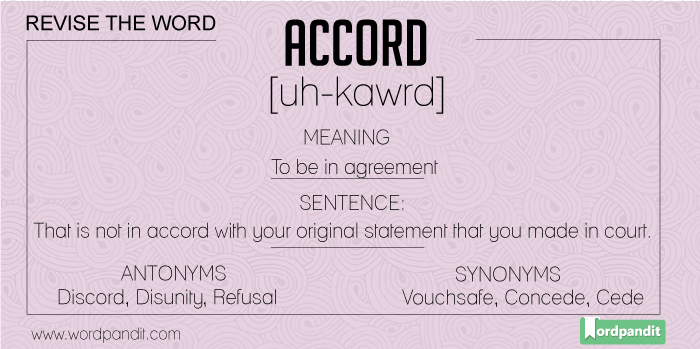 Synonyms-Antonyms-Meaning for Accord