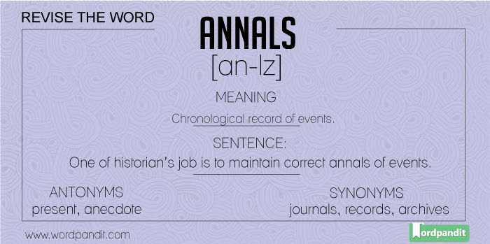 meaning, picture, sentence for annals